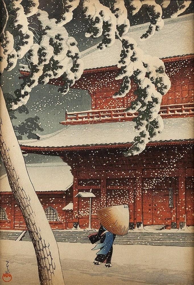 Kawase Hasui (Japanese, 1883-1957) Snow at Zojoji temple, no margins,