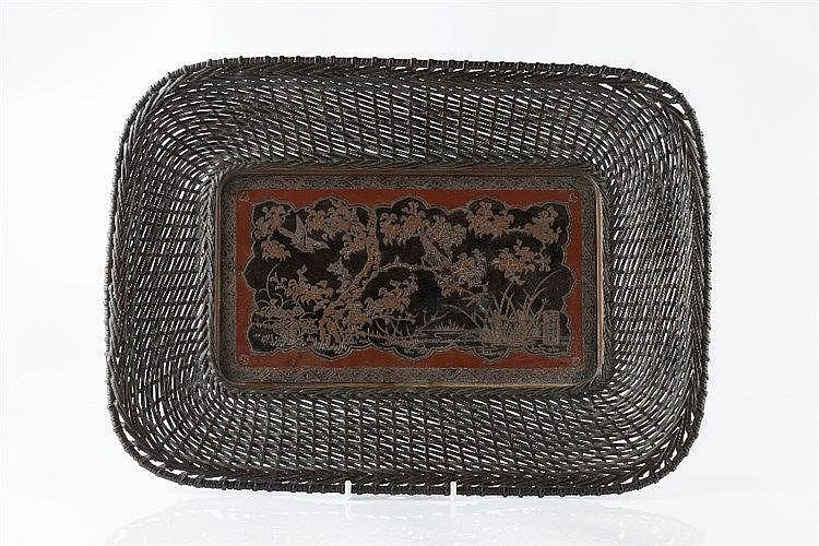 A Japanese bronze tray Meiji period signed Murakami Eijiro, with