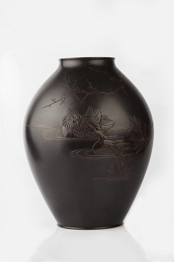 A Japanese bronze vase Taisho period signed, engraved and carved