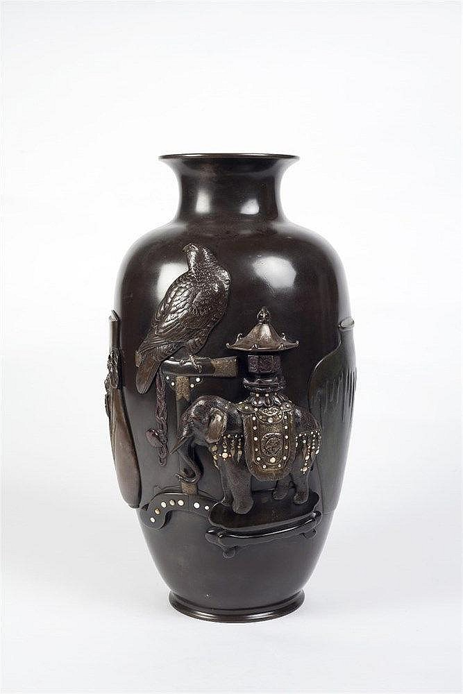 A large Japanese bronze oviform vase Meiji period decorated in hi