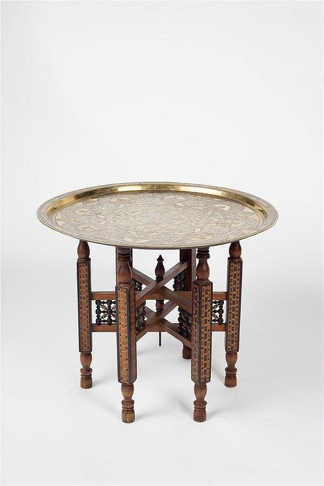 A Damascus silver inlaid tray with stand decorated with scripture and