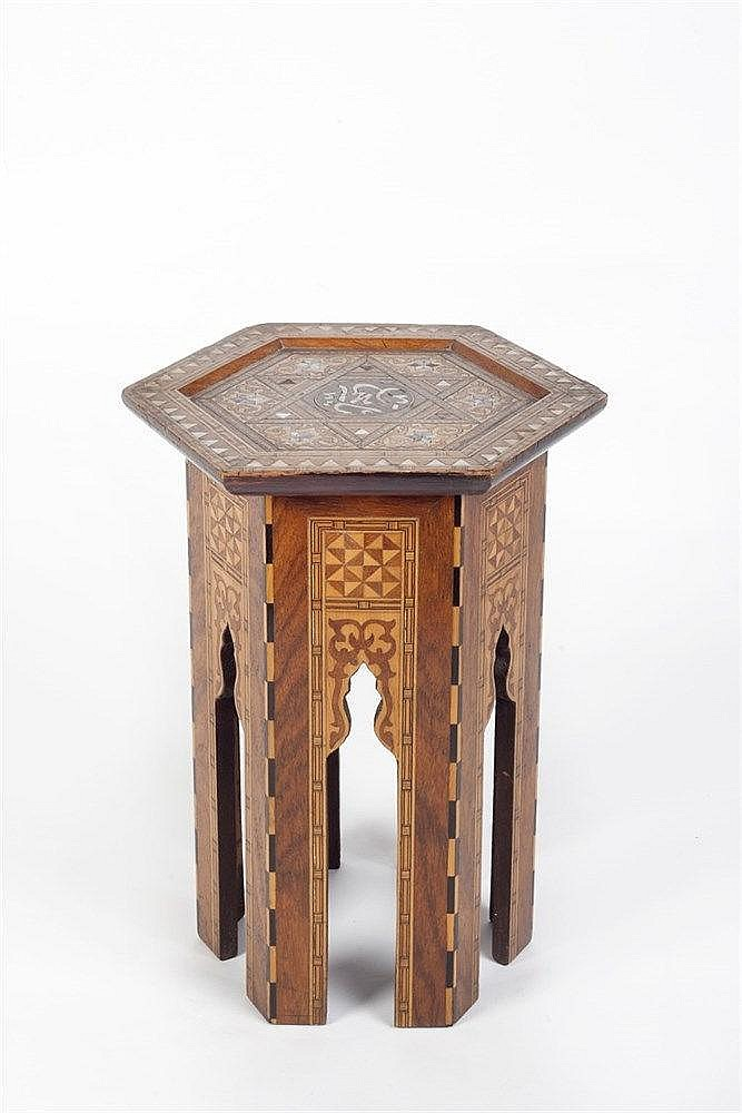 A Syrian inlaid octagonal table 19th century with mother of pearl and