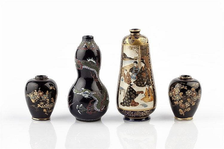 Four Japanese Satsuma miniature vases Meiji period all with deep