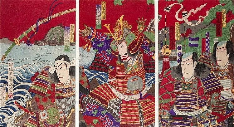 Kunisada III (Japanese, 1848-1920) Yoshisada tossing his word into the