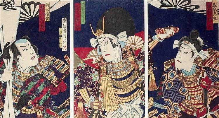 Kunichika (Japanese, 1835-1900) Three generals in full armour, signed,