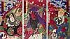 Kunisada III (Japanese, 1848-1920) Kabuki foreigners, signed, triptych, Toyokuni III Kunisada, £0