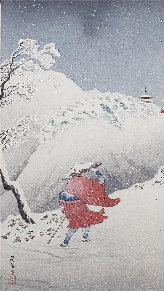 Takahashi Shotei (Japanese, 1871-1945) A pair of snowy village scenes,