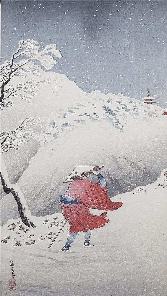 Takahashi Shotei (Japanese, 1871-1945) A pair of snowy village scenes,