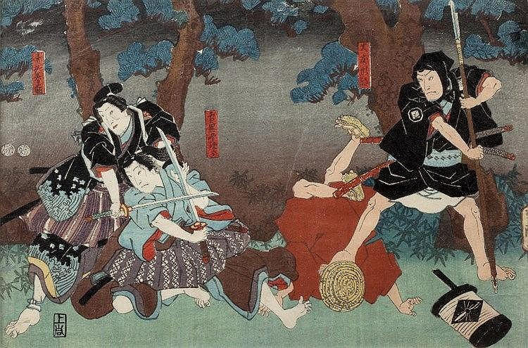 Kunisada Utagawa (Japanese, 1786-1864) Two bandits attacking traveller