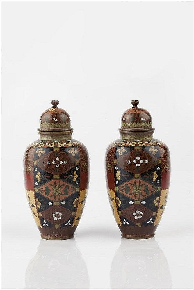 A pair of Japanese cloisonne enamel jars Meiji period in the Nami