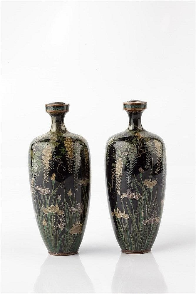 A pair of Japanese cloisonne vases Meiji period signed, decorated