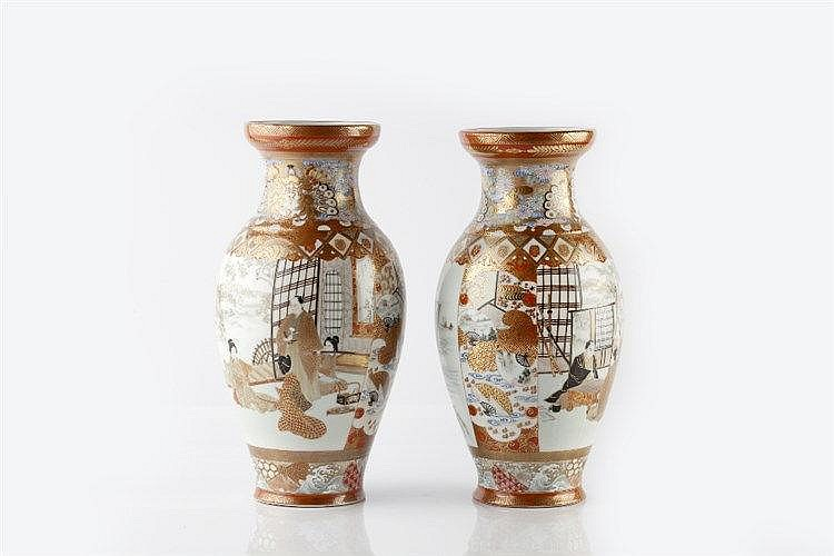 A pair of Japanese Kutani vases late 19th Century two interior sc
