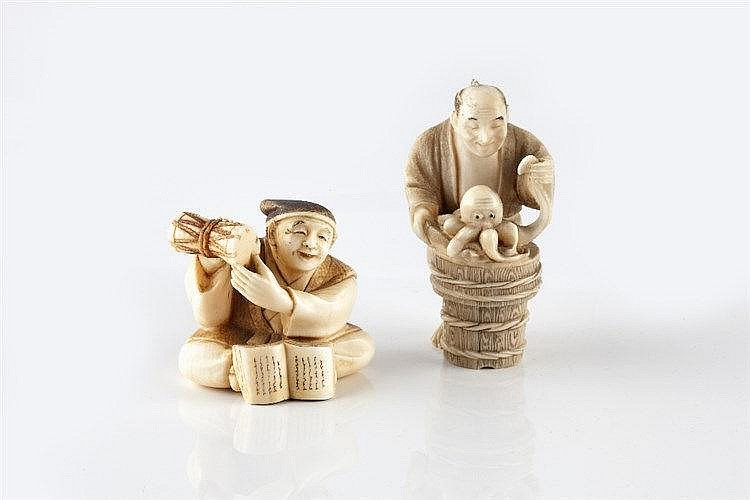 A Japanese ivory netsuke of a standing man late Meiji handling an