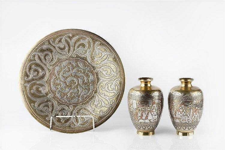 A collection of silver-inlaid brass Cairo ware Egypt or Syria late 19t