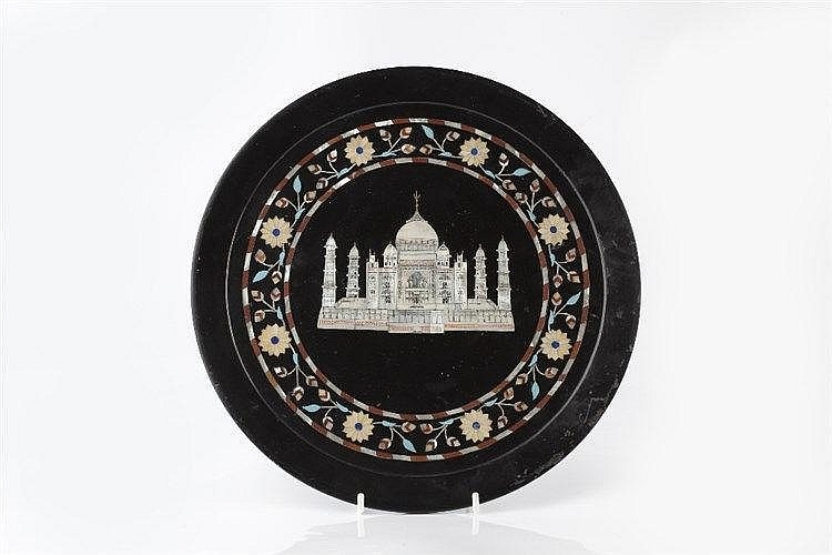An Indian stoneware Pietra-dura plate late 19th century inlaid wi