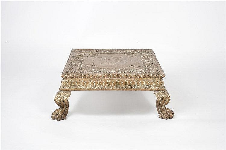 An Indian brass covered stool 19th century  of wooden construction, wi
