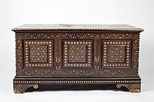 An Indo-Portuguese ivory inlaid chest 19th century  with panelled side