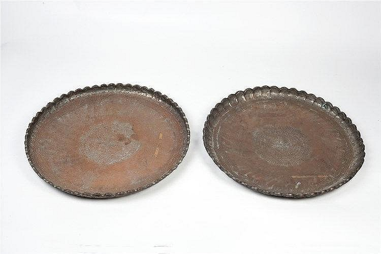 A collection seven of Indian and Middle-Eastern trays 19th century eac