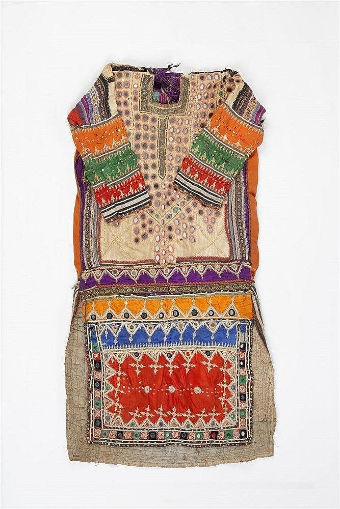 A Kurdish dress circa 1900/1920 with metal thread and inset mirro