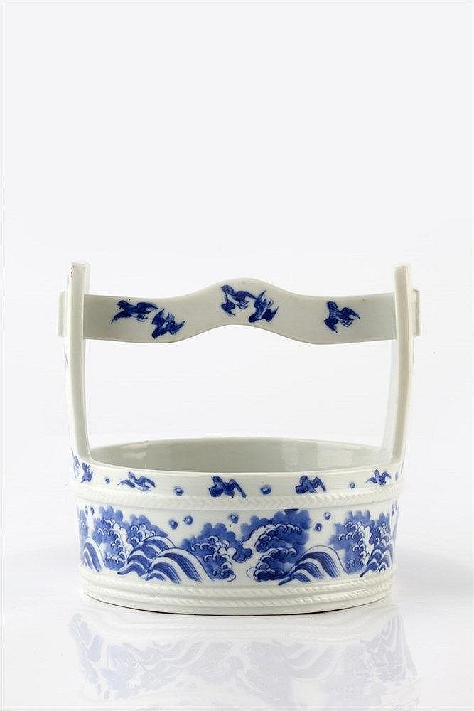 A Japanese Hirado blue and white basket late 19th Century decorat
