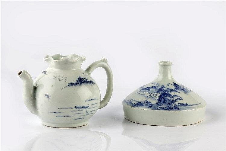 A Japanese Hirado sake flask and teapot Meiji period decorated in
