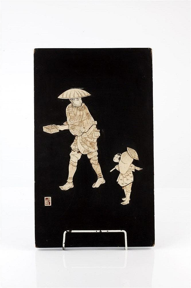 A Japanese bone and lacquer panel late 19th/early 20th Century si