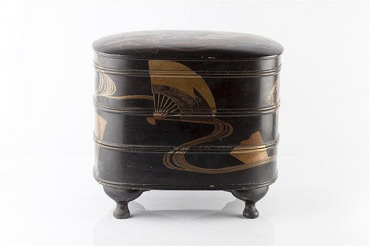 A Japanese roiro lacquer three tiered kobako 19th Century decorated in