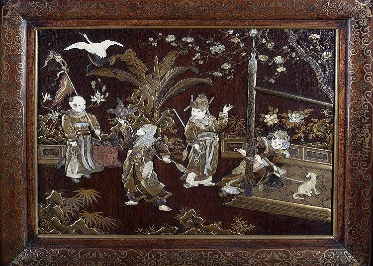 A Japanese wooden plaque Meiji period decorated with a court scen