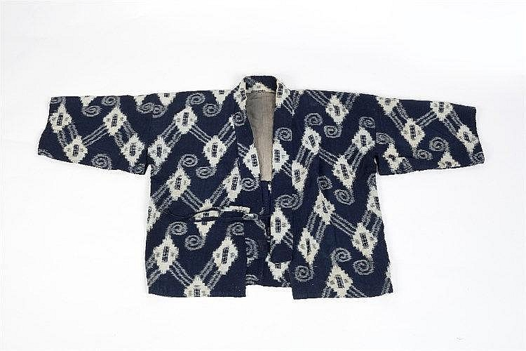 A Japanese Hoari jacket of blue ground with geometric designs