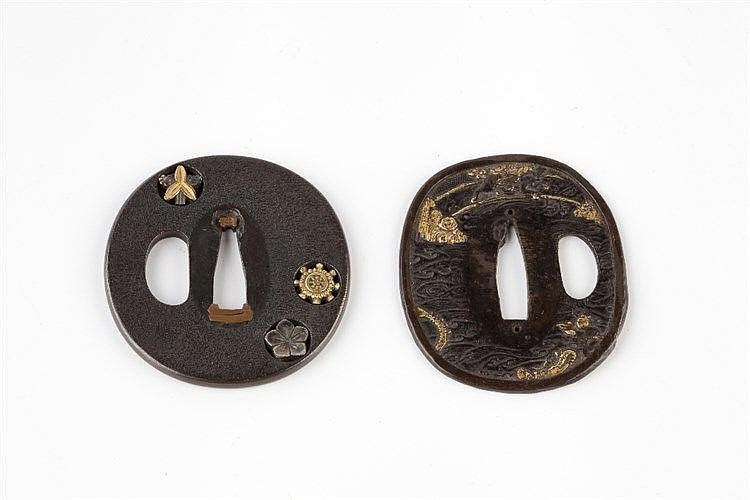 Two Japanese Tsubas 19th Century  shibuichi pierced with three family
