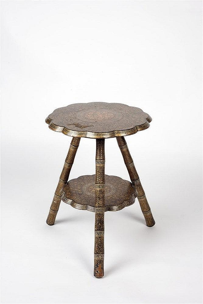 A Kashmir lacquered two tier tripod table of dodecafoil form, hand pai