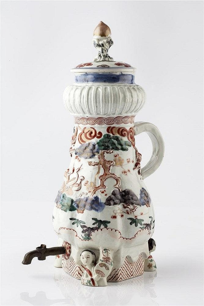 A Japanese Imari coffee ewer Edo period decorated in underglaze b