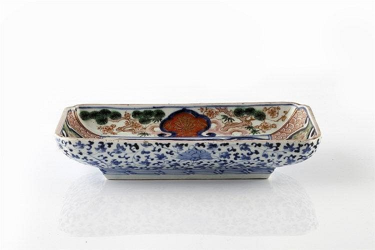 A Japanese Arita rectangular dish 19th Century with blue central panel