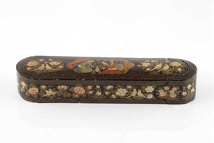 A Qajar lacquer papier mache pen box (qalamdan) 19th Century the top p