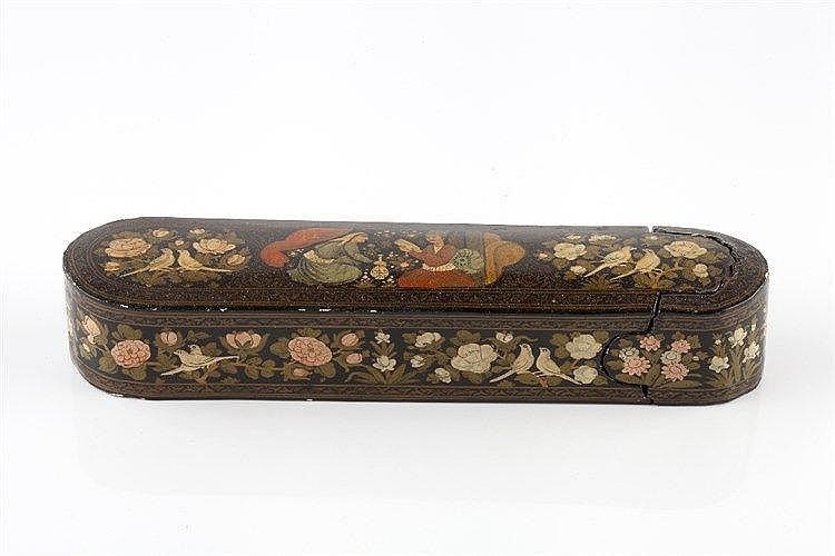 A Qajar lacquer papier mache pen box (qalamdan) 19th Century the top p
