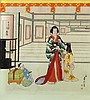 Hasegawa Sadanobu III (Japanese, 1881-1963) Lady and children in an in