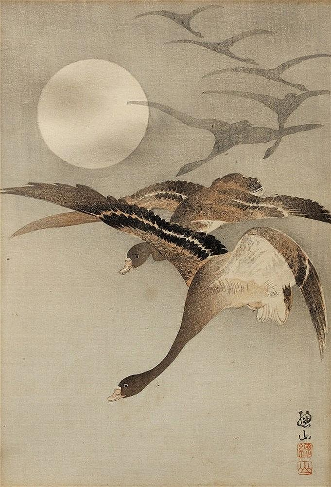 Ito Sozan (Japanese, 1884-?) Geese flying under full moon, signed, woo