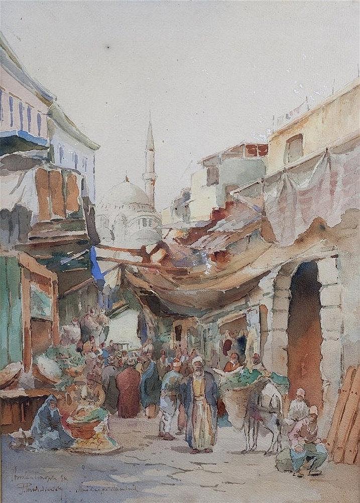 J. Paulikeuitch 20th century Constantinople Pavli-Kareef market scene,