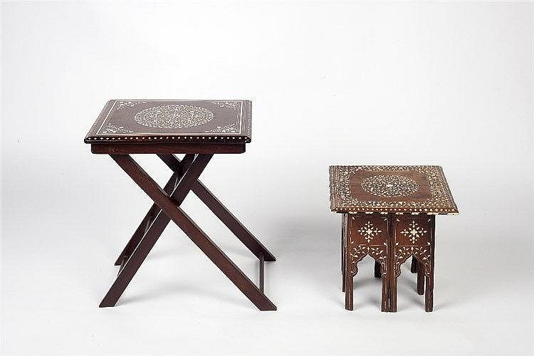 Two Hoshairpur inlaid tables each inlaid with ivory and bone of foliat