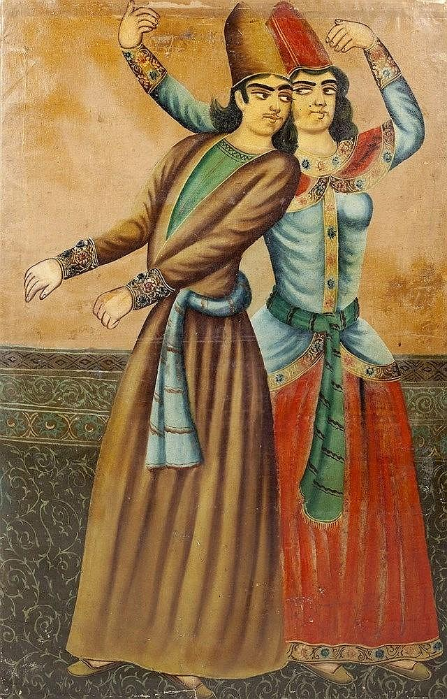 A Mughal style painting late 19th century  showing a couple danci