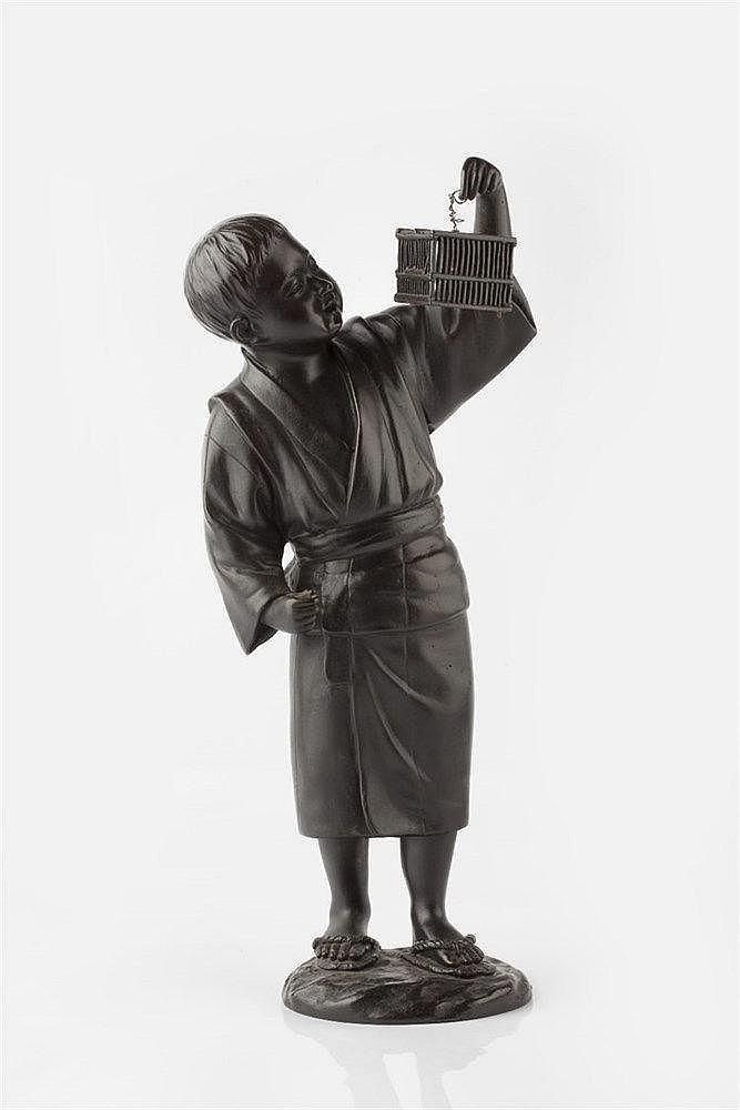 A Tokyo School bronze okimono Meiji period modelled in the form o