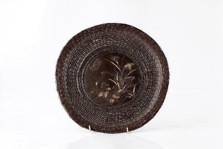 A Japanese bronze plate Meiji period signed Yoshio, inlaid with a