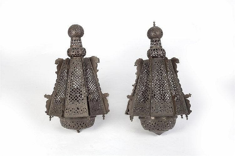 A pair of Islamic lanterns early 20th Century of octagonal taperi