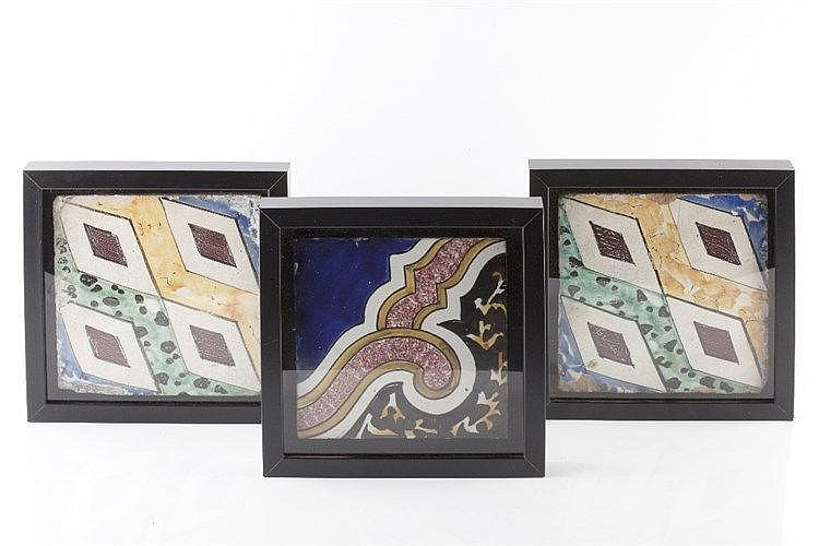 Three Qajar polychrome tiles19th Century with diamond designs and late