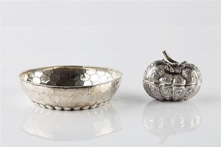 A Turkish silver small bowl late 19th Century with engraved and f