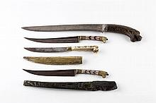 An Indo Persian dagger (Khangar) 19th Century with inset horn lion's h