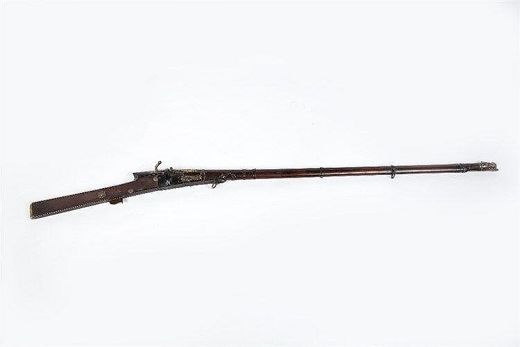 An Indian matchlock musket early 19th Century with damascene mask