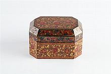 A Kashmiri box and cover 19th Century allover painted flowers in gilt