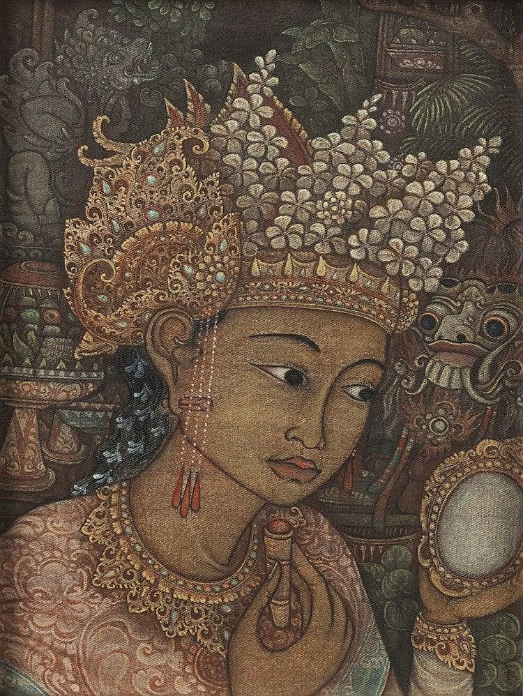 Balinese School A head of a girl, oil on canvas in a carved frame, 26c
