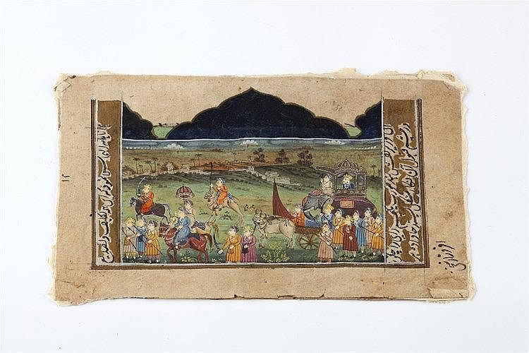 Two Mughal folio pages 17th/18th Century with scenes of procession of